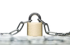 Padlock with a chain Royalty Free Stock Photos