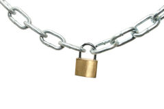 Padlock with chain. A padlock holding a silver chain Stock Photography