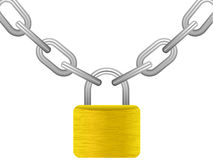 Padlock with chain Stock Photos