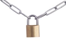 Padlock with chain Stock Images