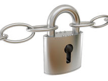 Padlock and chain. On white background vector illustration