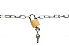 Padlock and chain. Isolated on white background Royalty Free Stock Photos
