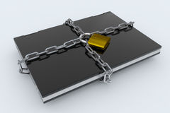 Padlock, chain and laptop Royalty Free Stock Images