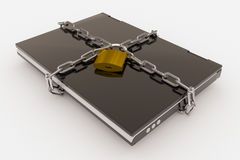 Padlock, chain and laptop Royalty Free Stock Photos