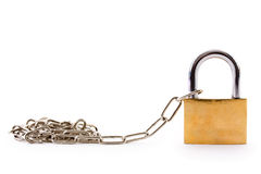 Padlock with chain link on white background Stock Image