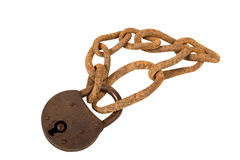 Padlock with chain. Royalty Free Stock Images