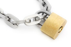 Padlock and chain over white Stock Image