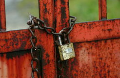 Padlock with chain Stock Photo