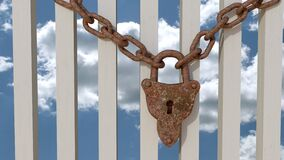 Padlock, Chain, Stainless, Fence Royalty Free Stock Photography