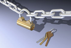 Padlock, chain and three different keys Stock Photography