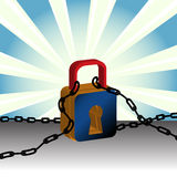 Padlock and chains. Abstract colorful illustration with padlock and chains Royalty Free Stock Photo