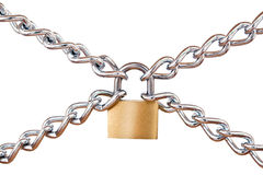 Padlock and chains. Locked padlock with silver chains in cross, shape, isolated on white background Royalty Free Stock Photography