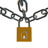 Padlock in chains Royalty Free Stock Images