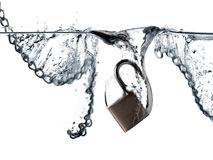 Padlock and chains. Falling into water Stock Photography