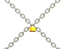 Padlock and chains. 3d image of classic padlock and chains Stock Images