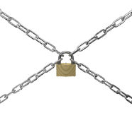 Padlock and chains on a white background. An denoting closed or secure Stock Photos