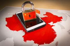 Padlock, China flag on a smartphone and China map. Great Firewall of China concept royalty free stock photography