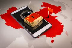 Padlock, China flag on a smartphone and China map. Great Firewall of China concept stock photos