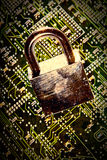 Padlock circuit. Lock and circuit board, concept of online safety Stock Photography