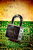 Padlock circuit. Lock and circuit board, concept of online safety Royalty Free Stock Image