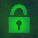 Padlock circuit over green background vector Royalty Free Stock Image