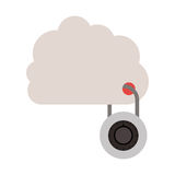 Padlock with circular body into the cloud. Vector illustration Stock Photo