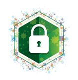 Padlock close icon floral plants pattern green hexagon button. Padlock close icon isolated on floral plants pattern green hexagon button vector illustration