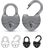 Padlock. Closed and open retro padlock. Outline and silhouette versions included Stock Illustration