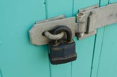Padlock. Closeup detail of padlock and hasp Stock Image