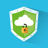 Padlock and cloud inside shield design Stock Photo