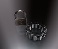 Padlock and cogwheel Stock Photos