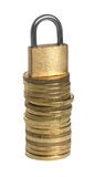 The padlock on coins. Stock Images