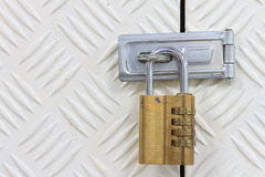 Padlock with combination code Stock Photos