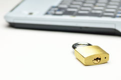 Padlock and Computer. Stock Photo