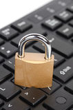 Padlock and computer keyboard Stock Image