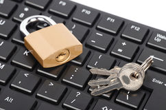 Padlock and computer keyboard Royalty Free Stock Photography