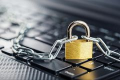 Padlock on computer keyboard. Network Security, data security and antivirus protection PC. Padlock on computer keyboard. Network Security, data security Stock Image