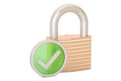 Padlock con la marca de verificación verde, concepto del pago de la seguridad 3d arrancan Fotografía de archivo