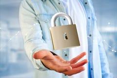 Padlock a conexão isolada em um fundo da cor - 3d da segurança Imagem de Stock Royalty Free