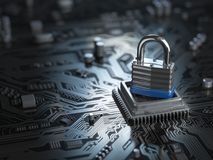 Padlock on CPU computer circuit board. Lock over  the motherboar Stock Photography