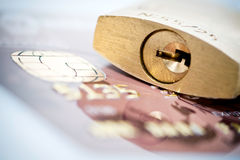 Padlock and credit card Royalty Free Stock Photography