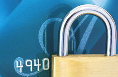 Padlock on Credit Card Royalty Free Stock Photos