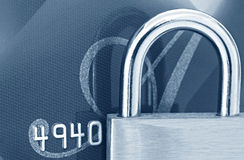 Padlock on Credit Card royalty free stock images