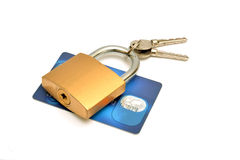 Padlock on credit card isolated white background Stock Images