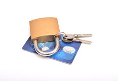 Padlock credit card isolated on white background Stock Photography