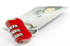 Padlock and credit card Royalty Free Stock Images