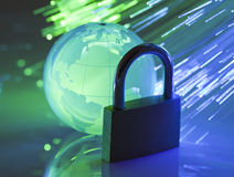 Padlock with crystal globe Royalty Free Stock Photo