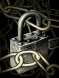 Padlock. Digital illustration of a padlock and chain Stock Photos