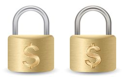 A Padlock with dollar sign Royalty Free Stock Photos