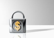 Padlock with dollar sign Royalty Free Stock Images